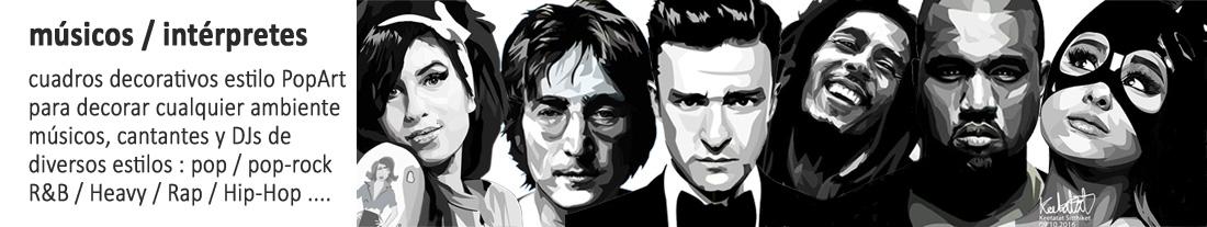cuadros estilo Pop Art : cantantes / compositores / músicos / Dj's - para comprar