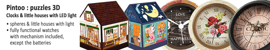 78/5000 Pintoo: 3D puzzles - functional clocks and huts with LED light - to buy