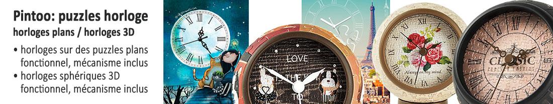 Pintoo: puzzles avec horloge intégrée - plat et 3D - à acheter