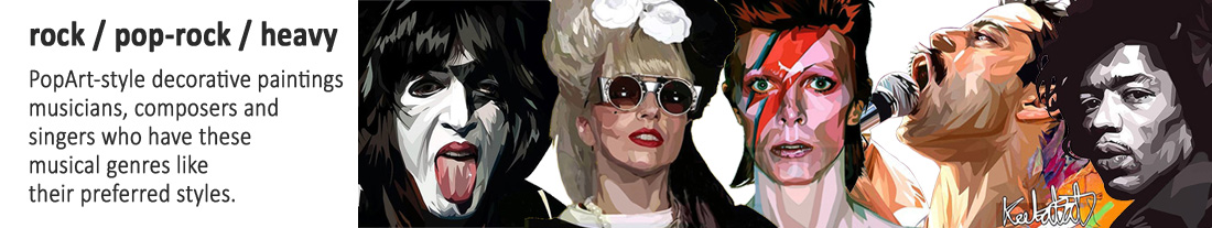 pop art style pictures : musicians & singers - rock / pop-rock / heavy