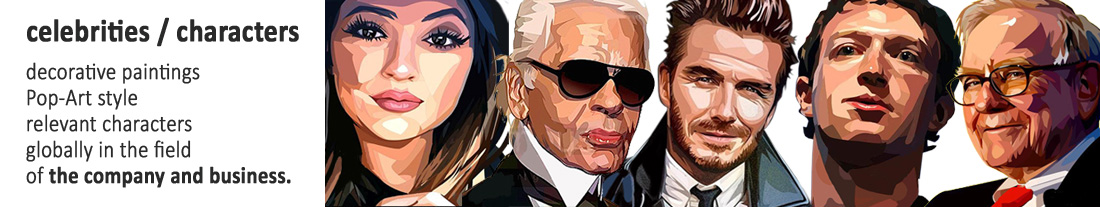 PopArt-style decorative paintings: Business and Company characters