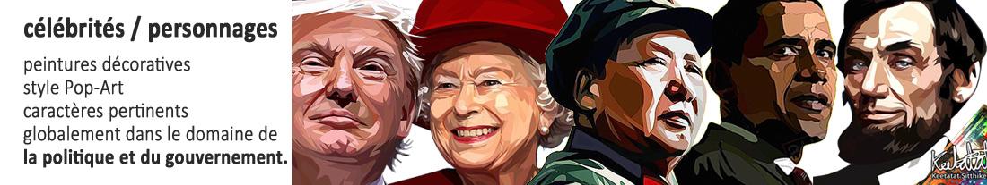 Peintures décoratives de style PopArt: personnages politiques et gouvernementaux